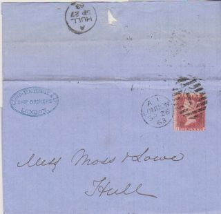 Qv Wrapper London Ship Brokers Cachet 1d Stars Penny Red Stamp 1863 To Hull =1= photo
