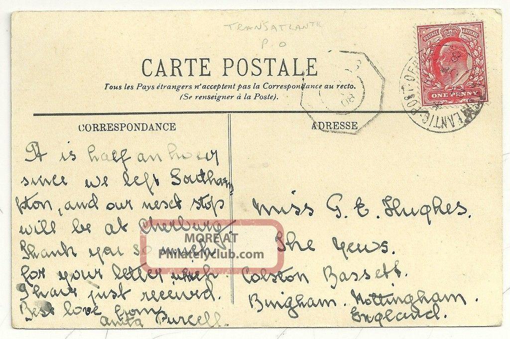 1908 Transatlantic Post Office 8 Cds Cherbourg To Nottingham Ppc Steamer Covers photo