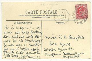 1908 Transatlantic Post Office 8 Cds Cherbourg To Nottingham Ppc Steamer photo