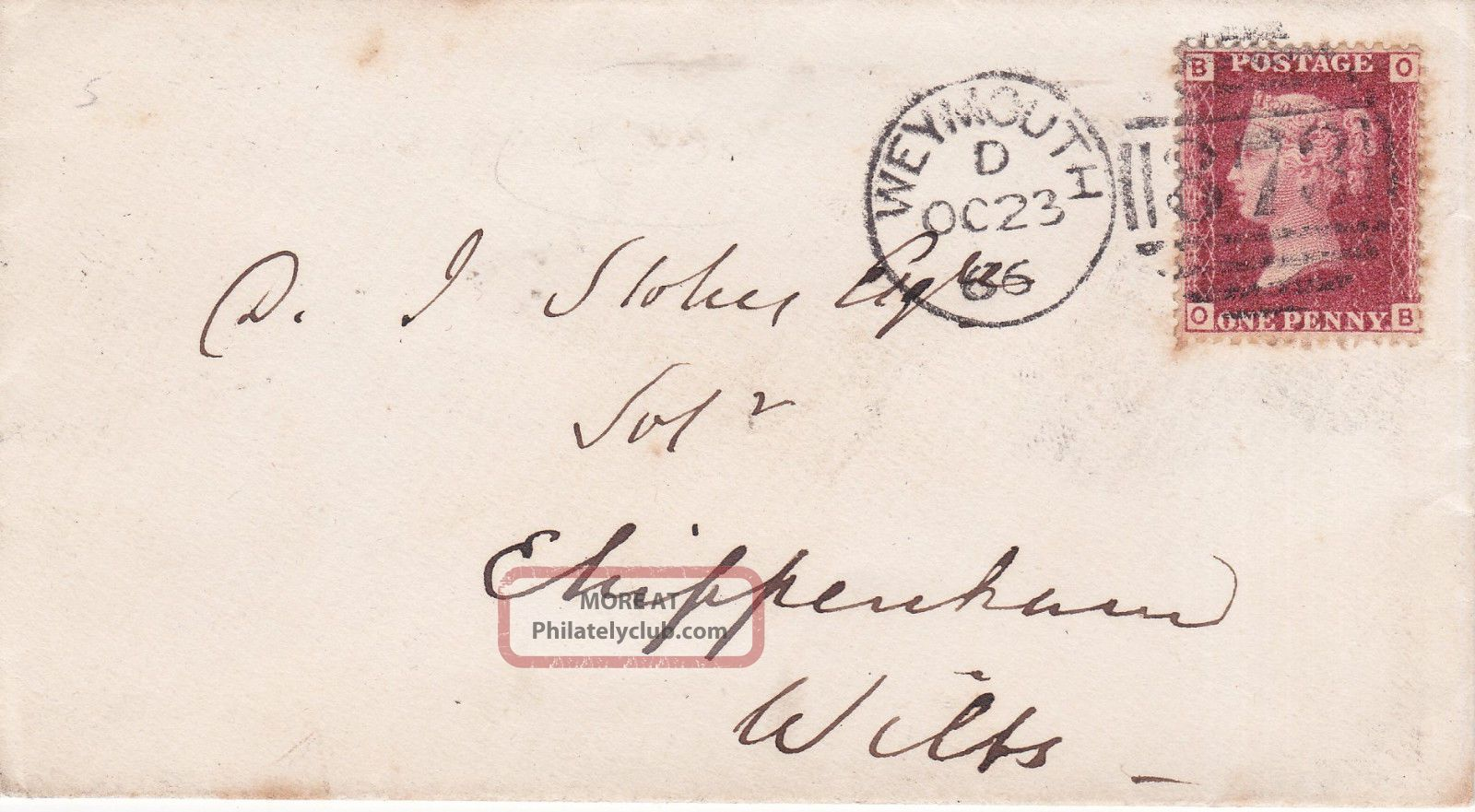Qv Cover 1866 1d Penny Red Stamp Plate 76 Weymouth To Chippenham Wilts Great Britain photo
