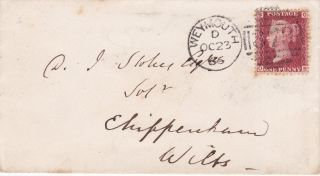 Qv Cover 1866 1d Penny Red Stamp Plate 76 Weymouth To Chippenham Wilts photo