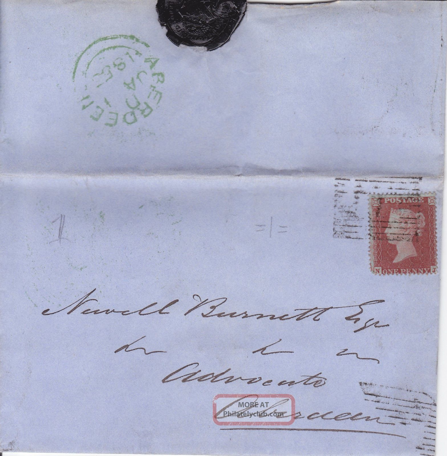 Qv Entire Wrapper 1855 1d Penny Red Stamp To Newell Burnett In Aberdeen Great Britain photo