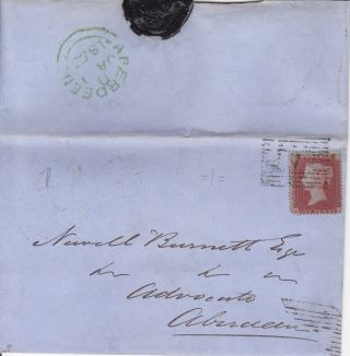 Qv Entire Wrapper 1855 1d Penny Red Stamp To Newell Burnett In Aberdeen photo