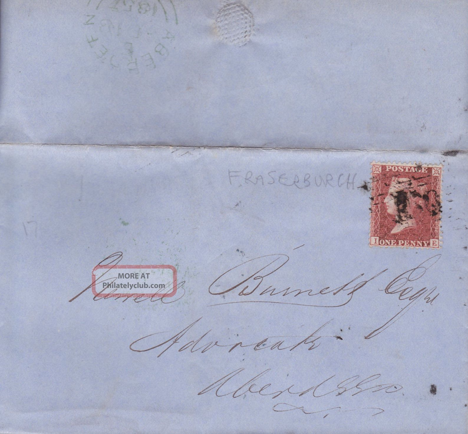 Qv Entire Wrapper 1857 1d Penny Red Stamp To Newell Burnett In Aberdeen Great Britain photo