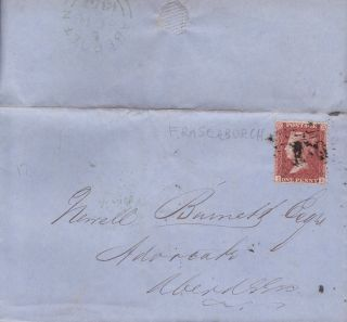 Qv Entire Wrapper 1857 1d Penny Red Stamp To Newell Burnett In Aberdeen photo