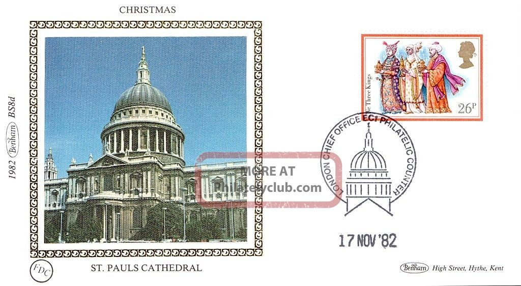 (52847) Fdc: St Paul ' S Cathedral - Christmas Carols We Kings 1982 Benham Silk 1971-Now photo