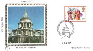 (52847) Fdc: St Paul ' S Cathedral - Christmas Carols We Kings 1982 Benham Silk photo