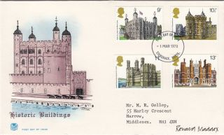 (28806) Gb Stuart Fdc Designer Signed Histroric Buildings Stevenage 1 Mar 1978 photo