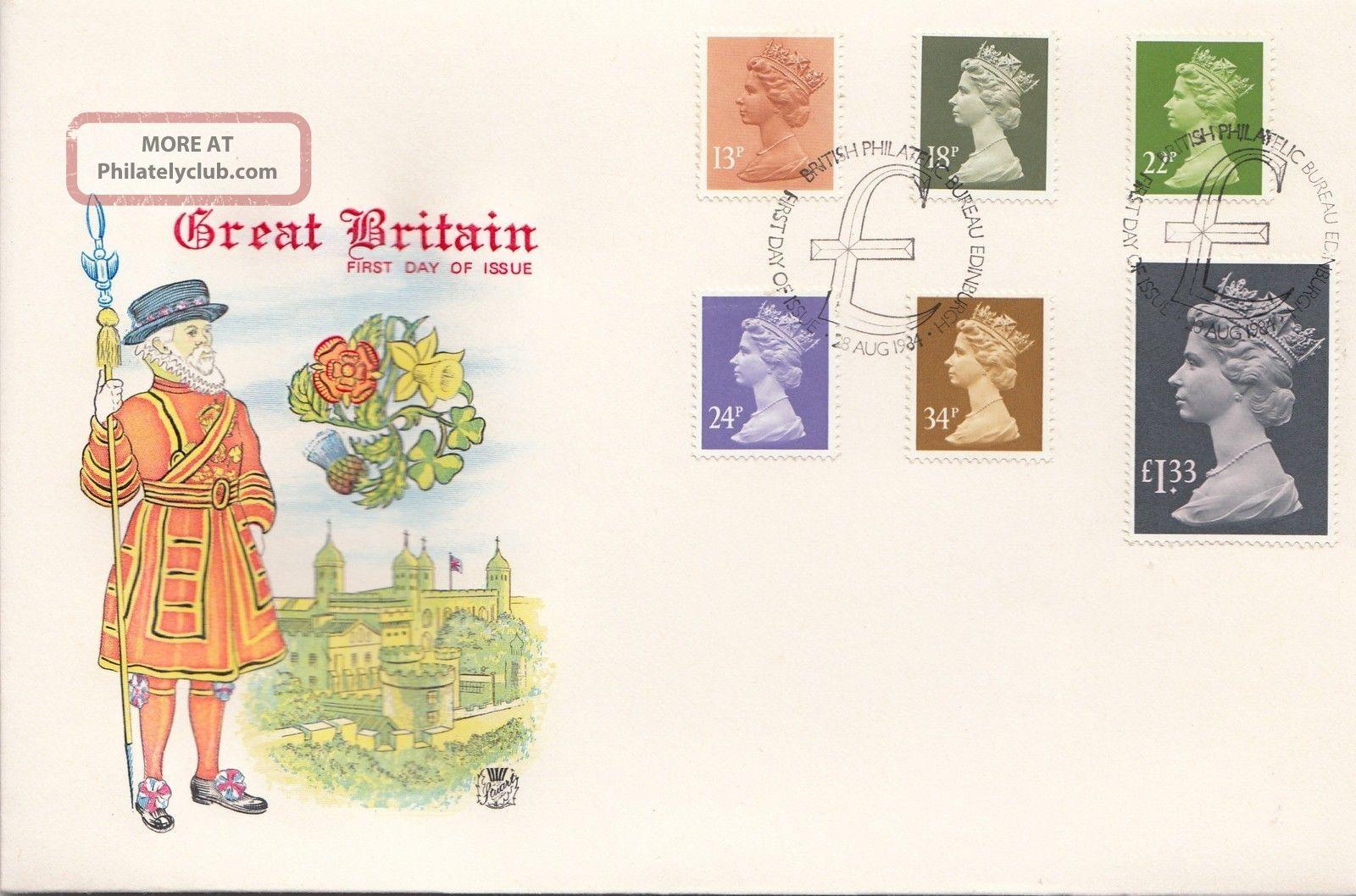 (25931) Gb Stuart Fdc £1.  33 34p 24p 22p 18p 13p - Bureau 28 Aug 1984 1971-Now photo