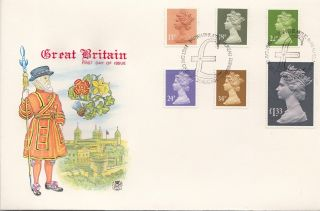 (25931) Gb Stuart Fdc £1.  33 34p 24p 22p 18p 13p - Bureau 28 Aug 1984 photo