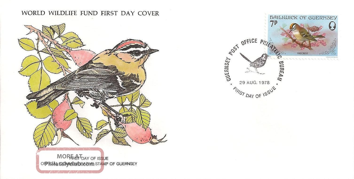 Fdc Wwf Firecrest Bird - Gb Guernsey 1978 Regional Issues photo