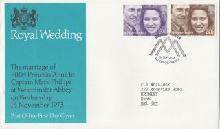 (29888) Clearance Gb Fdc Princess Anne Wedding - Windsor 14 November 1973 photo