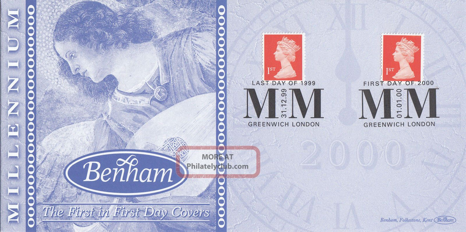 (74035) Gb Benham Cover Last Day 31 Dec 1999 1st Day 1 Jan 2000 - Greenwich Covers photo