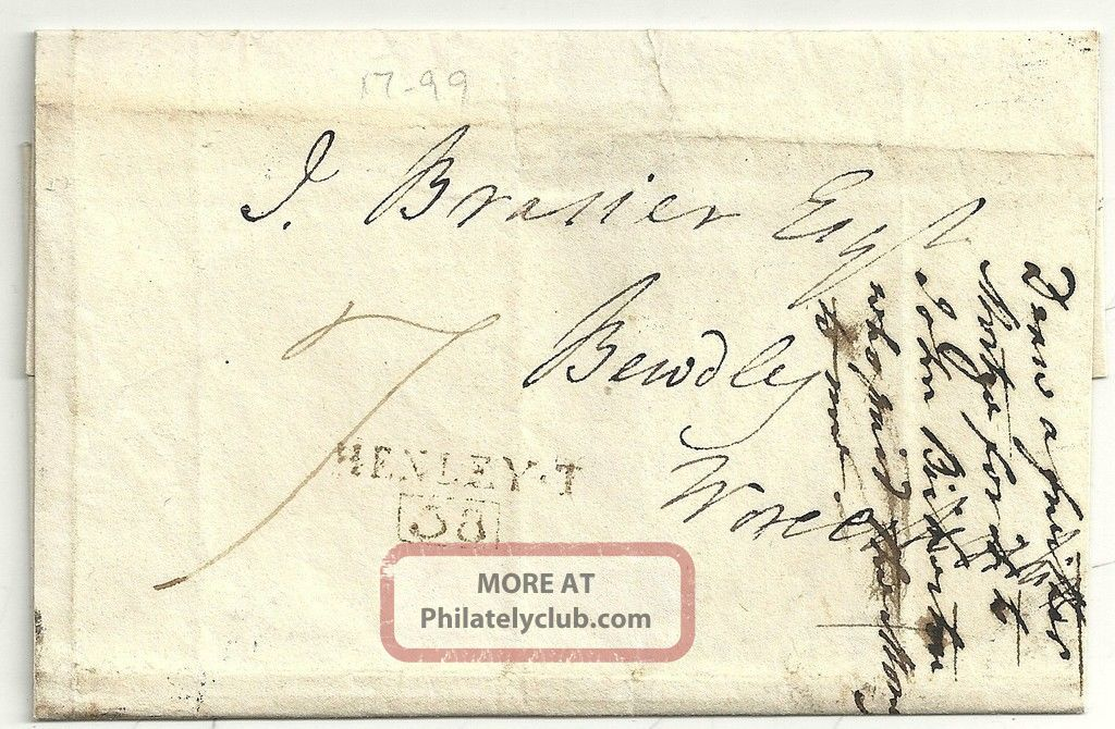 1804 Henley On Thames Scarce Boxed Mileage On Wrapper To J.  Brasier At Bewdley Covers photo