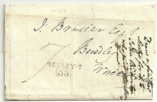 1804 Henley On Thames Scarce Boxed Mileage On Wrapper To J.  Brasier At Bewdley photo