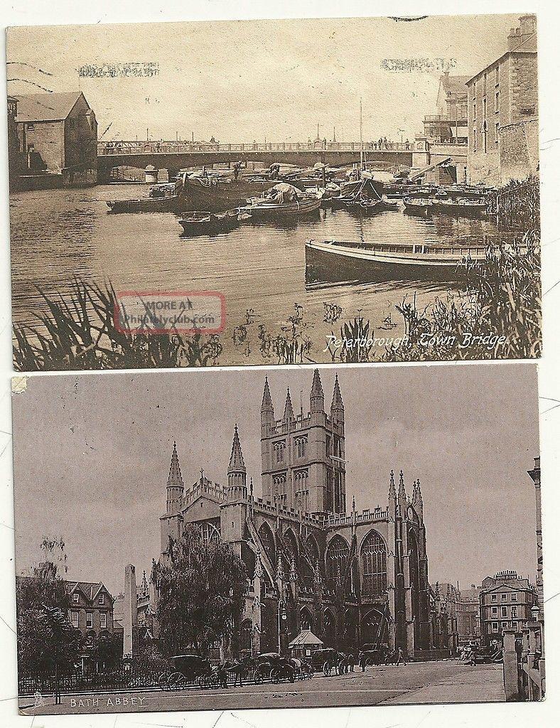 1905/14 2 Ppcs Midford & Bathampton Bath Rubber Cancels Violet & Black Somerset Covers photo
