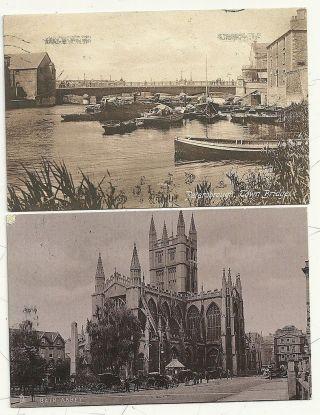 1905/14 2 Ppcs Midford & Bathampton Bath Rubber Cancels Violet & Black Somerset photo