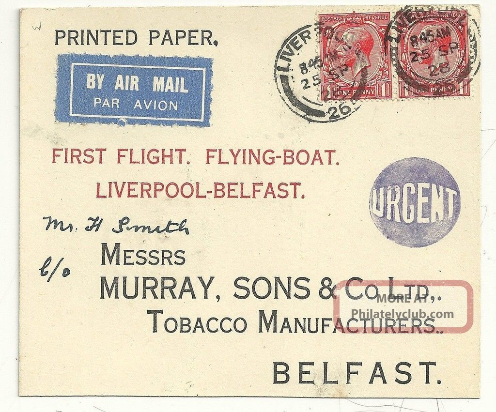 1928 Liverpool To Murray Tobacco Manufacturers Belfast Flying Boat First Flight Covers photo