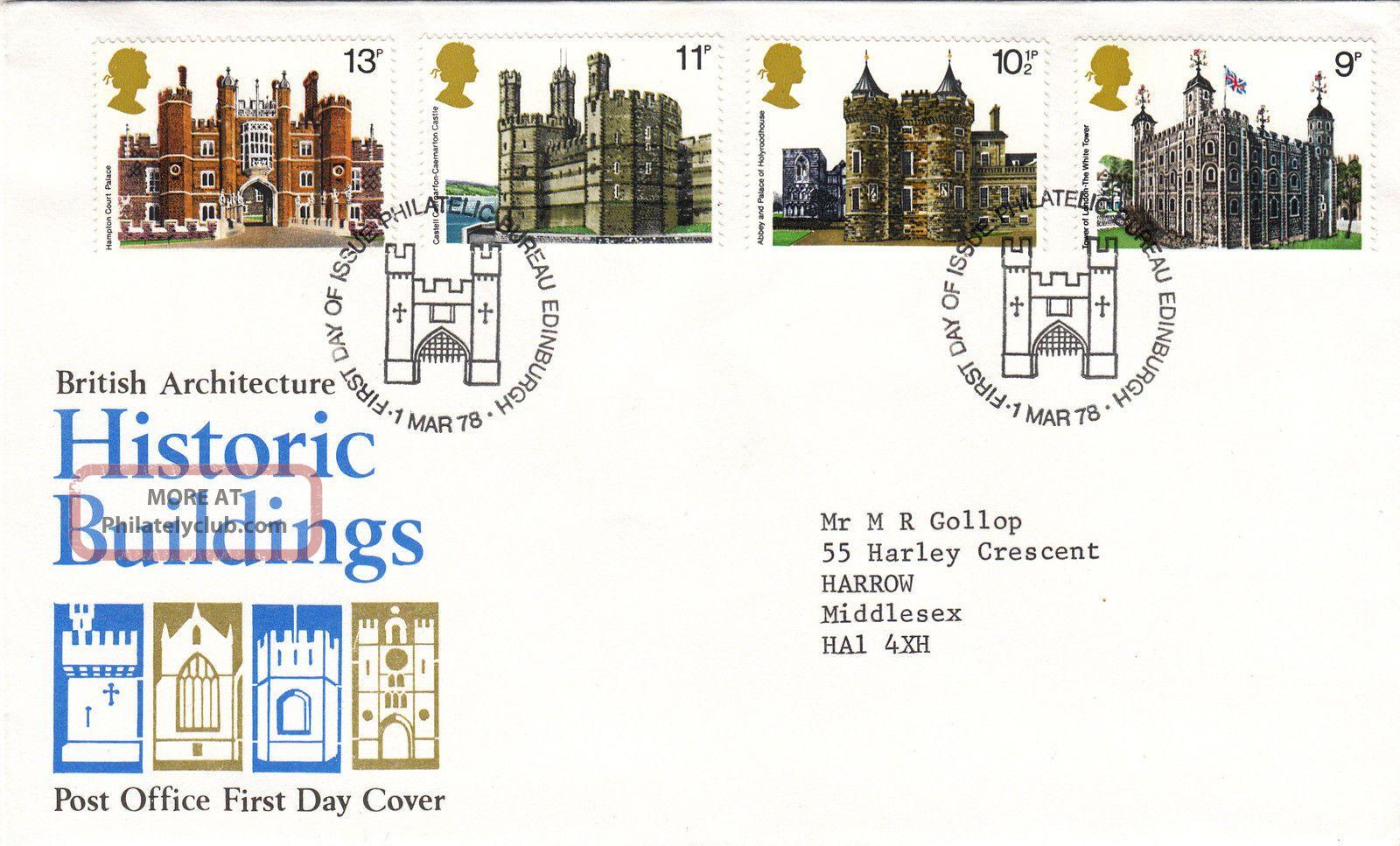 (28807) Gb Po Fdc Histroric Buildings - Bureau 1 Mar 1978 1971-Now photo