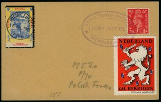 Poland 1943 Polish And Netherlands Forces Card With Label Gb Stamp photo