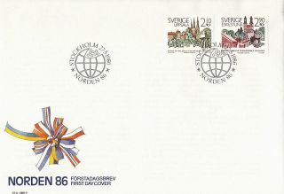 Sweden 1986 Nordic Postal Cooperation First Day Cover Shs photo