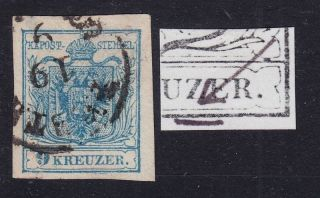 Austria 1850 9kr,  Mp,  Type Iii.  Plate Error Pesth Canc. photo