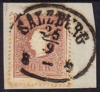 Austria 1858 10kr,  Type Ii,  Salzburg Canc. photo