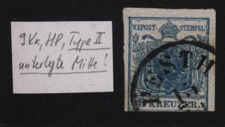 Austria 1850 9kr,  Hp,  Type Ii.  Emphasized Middle Part Pesth Canc. photo