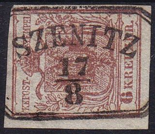 Austria 1850 6kr,  Hp,  Type Iii.  Well Margins.  Szenitz Cancellation. photo