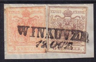 Austria 1850 3+6kr,  Mp,  Type Iii.  Liliputian Cutting On Piece Winkowze (ungarn) photo