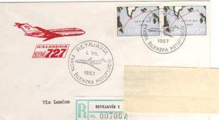 Iceland.  1967.  First Jet Flight,  Iceland - London.  Telep photo
