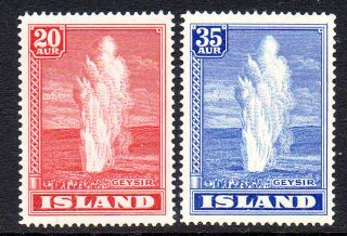 Iceland.  1938.  Geysir 20aur And 35aur.  Never Hinged.  (2) Fa: 244.  228/29.  A photo