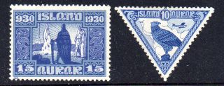 Iceland.  1930.  The Parlament.  15aur.  And 10aur Falcon.  Hinged.  (2) Fa: 177. photo