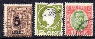 Iceland.  1911 - 22.  Two Kings.  Surcharge 5aur/16aur,  Sigurdson.  1aur.  And Chr.  X. photo