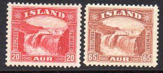 Iceland.  1931 32.  Gullfoss.  20aur And 65aur.  Hinged.  (2) Fa: 195.  198.  Mi: photo
