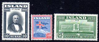 Iceland.  1938 - 44.  University Of Reykjavik 25aur.  Flag 10aur And Sigurdson 10aur. photo