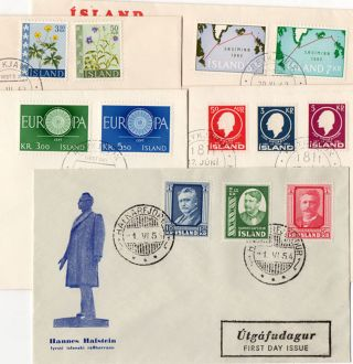 Iceland.  1954 - 62.  Hafstein.  Europa I.  Sigurdsson.  Flower.  Cable.  Fdc.  (5) Fa: photo