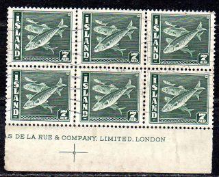 Iceland.  1939.  Fish.  7aur.  In Block Of Six. .  (6) Fa: 243.  Mi: 211b.  L2060 - 6 photo
