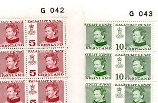 Greenland.  1973 - 78.  Queenn Margrethe Typ I 10öre Sheet No.  G043,  Typ Ii 5öre S photo