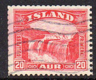 Iceland.  1931 32.  Gullfoss.  20aur.  From Vending Machines.  Fa: 195r.  Mi: 15 photo