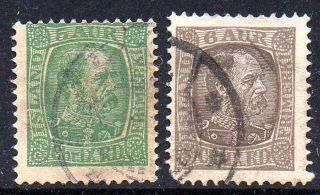 Iceland.  1902 - 05.  Chr Ix.  5aur.  And 6aur. .  (2) Fa: 65/65.  Mi: 37/38.  L205 photo