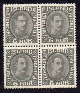 Iceland.  1932.  Chr.  X.  Unbroken Line.  6aur In Block Of Four.  Never Hinged. photo