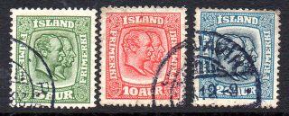 Iceland.  1918.  Two Kings.  5aur.  10aur.  And 20aur.  Perf.  14x14 1/2. .  (3) Fa: photo