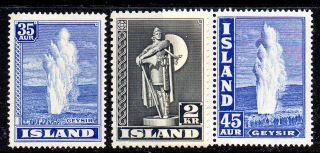 Iceland.  1938 - 47.  Geysir.  35aur And 45aur.  Viking 2kr.  Perf.  11 1/2.  Never photo