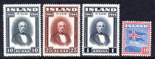 Iceland.  1939 - 44.  Flag 10aur And Sigurdson 10aur.  25aur And 1kr.  Never Hing photo