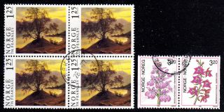 Norway.  1976.  90.  Painting Ii.  1.  25kr,  In Block Of Four.  Orchids I.  3.  20kr In Sx photo