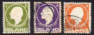 Iceland.  1911.  Sigurdsson.  1aur,  15aur And 25aur. .  (3).  Fa: 106.  112/13 Mi: photo