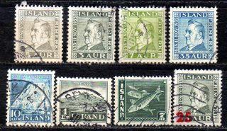 Iceland.  1935 - 41.  Dynjandi,  Hekla,  Jochumsson And Fish. .  (8).  Fa: 210/15 21 photo