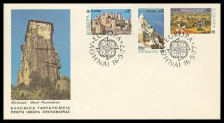 Greece.  Europa Cept,  Castles Of Mani - Lassithi Crete - Santorini Greek Fdc 1977 photo