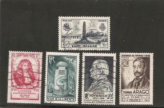 France : 1947 - 48 Semi - Postal 218 + 219 + 220 + 221 + 223 photo